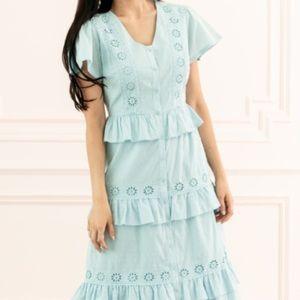 Midi Blue Tiered Eyelet Dress
